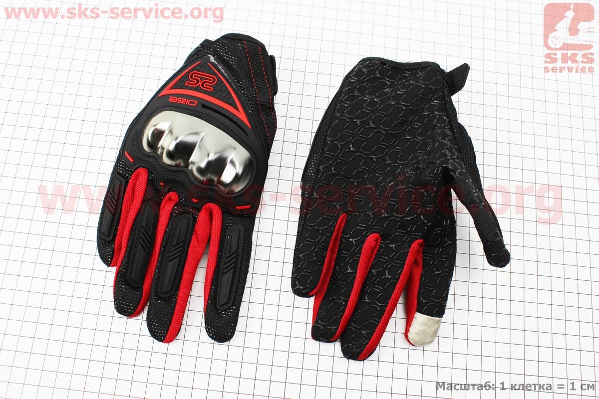 Перчатки мотоциклетные L-черно/красные (сенсорный палец) (337763)