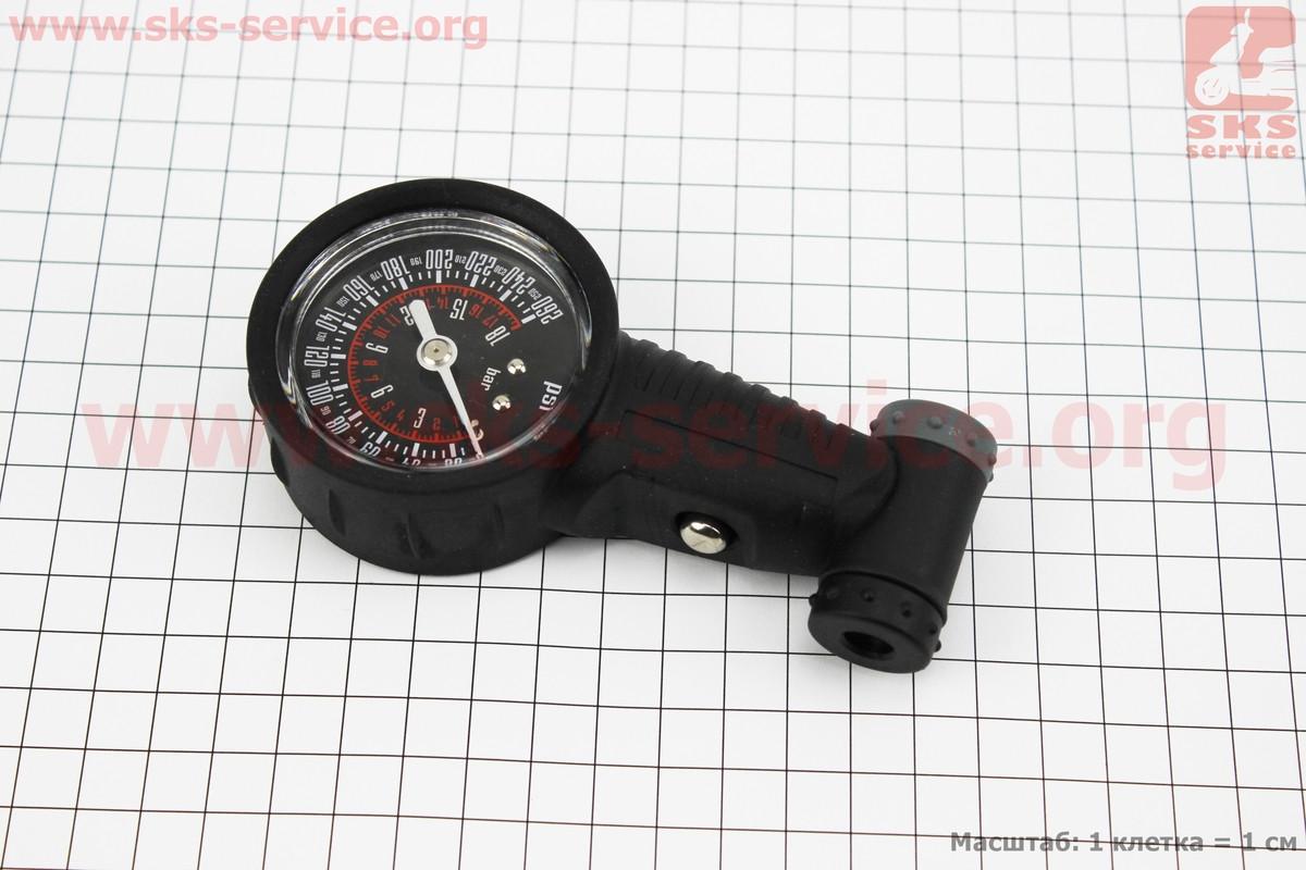 Манометр пластмассовый 260 psi/18 bar, под штуцера Schrader&Presta, SPM-02 (407185)