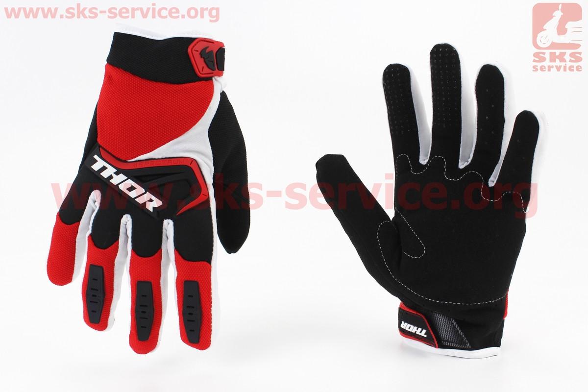 Перчатки мотоциклетные L-красные с цветными вставками (354099)