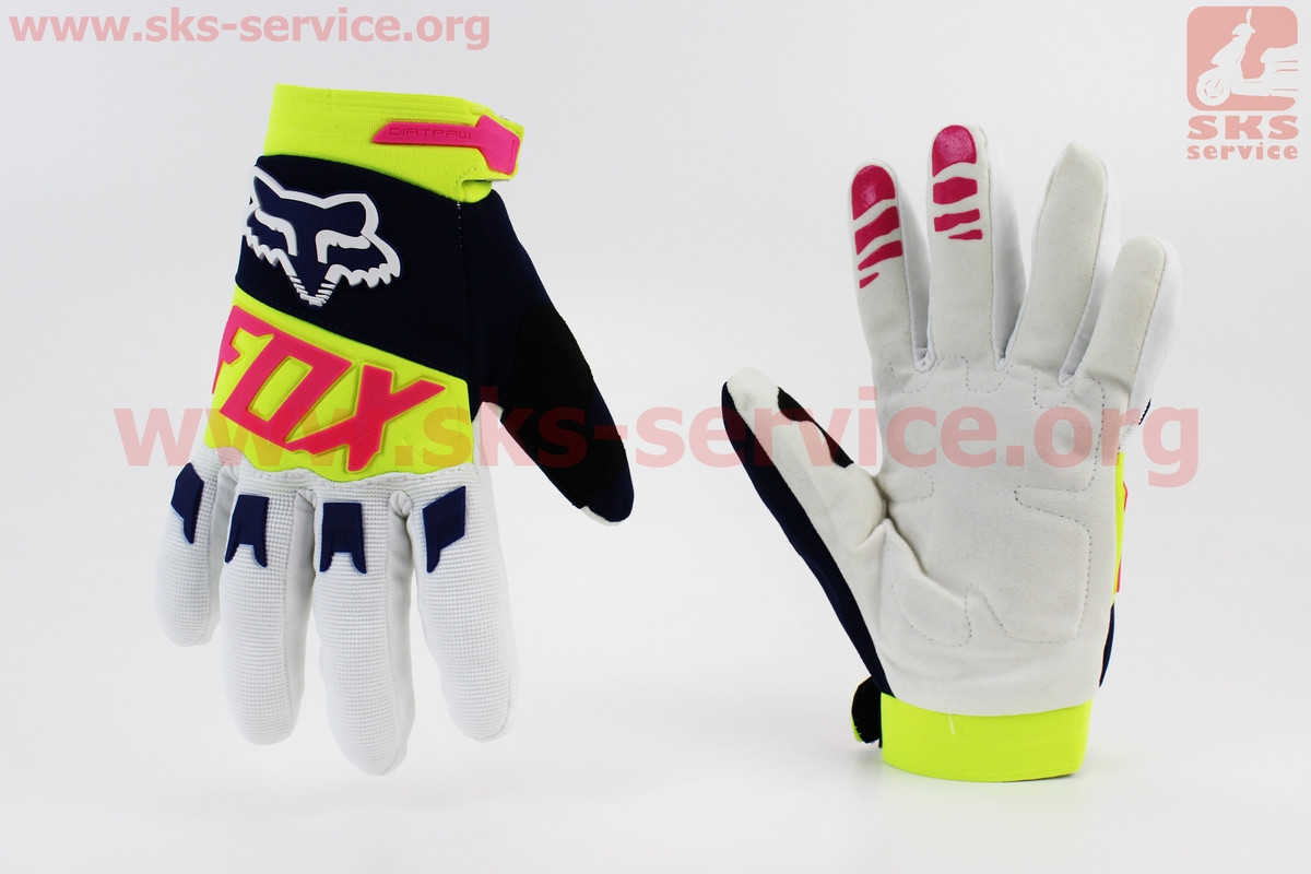 Мотоциклетні рукавички XL-білі з кольоровими вставками (354073)