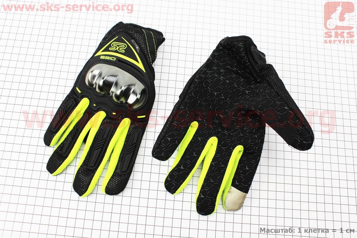 Перчатки мотоциклетные XL-черно/салатовые (сенсорный палец) (337762)