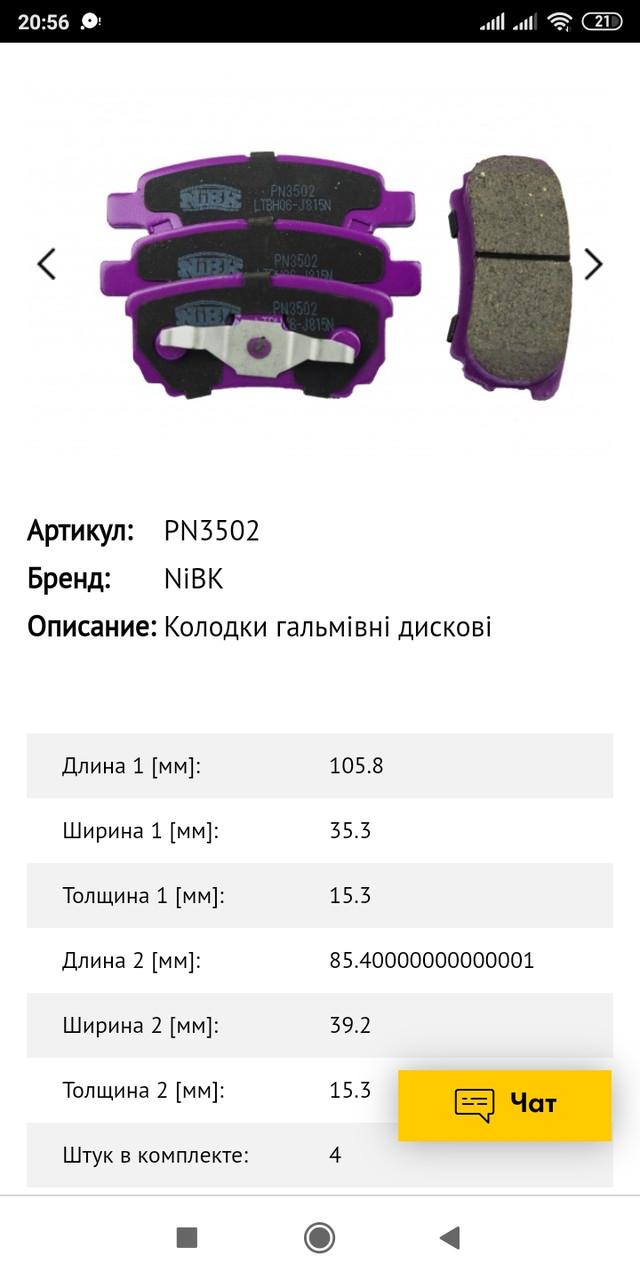 Тормозные колодки задние NiBk Mitsubishi Lancer