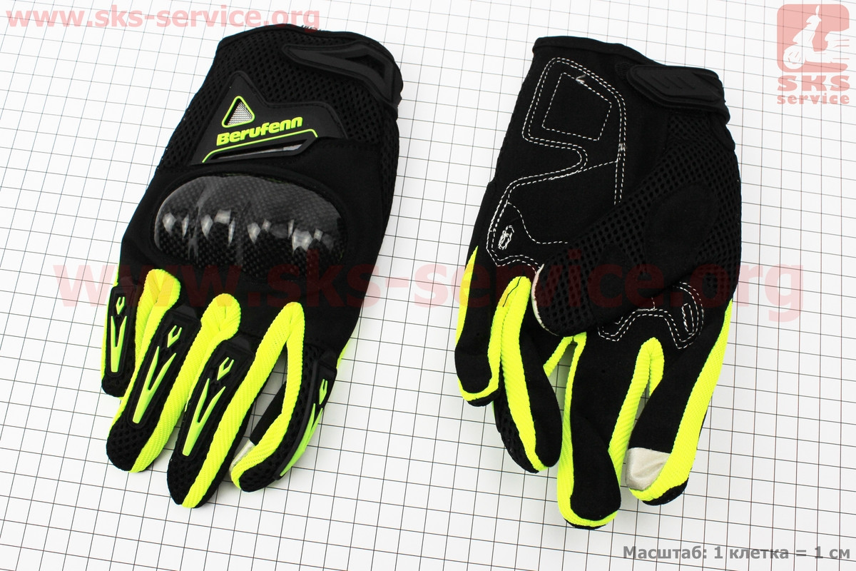 Перчатки мотоциклетные XL-черно/салатовые (сенсорный палец) (337754)