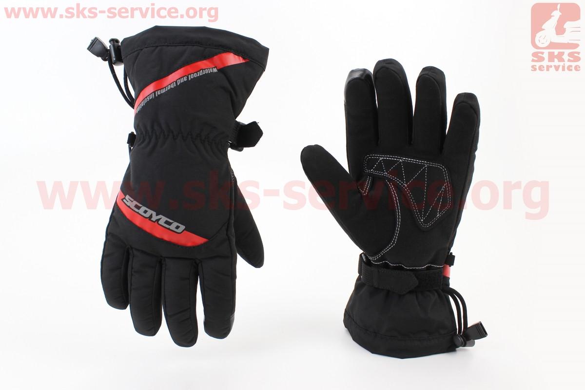 Мотоциклетні рукавички, теплі L-чорно/червоний (354255)