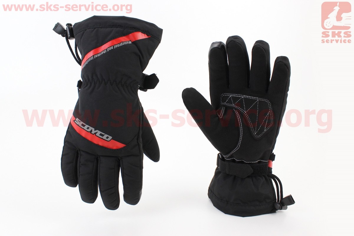 Перчатки мотоциклетные, теплые L-черно/красный (354255)