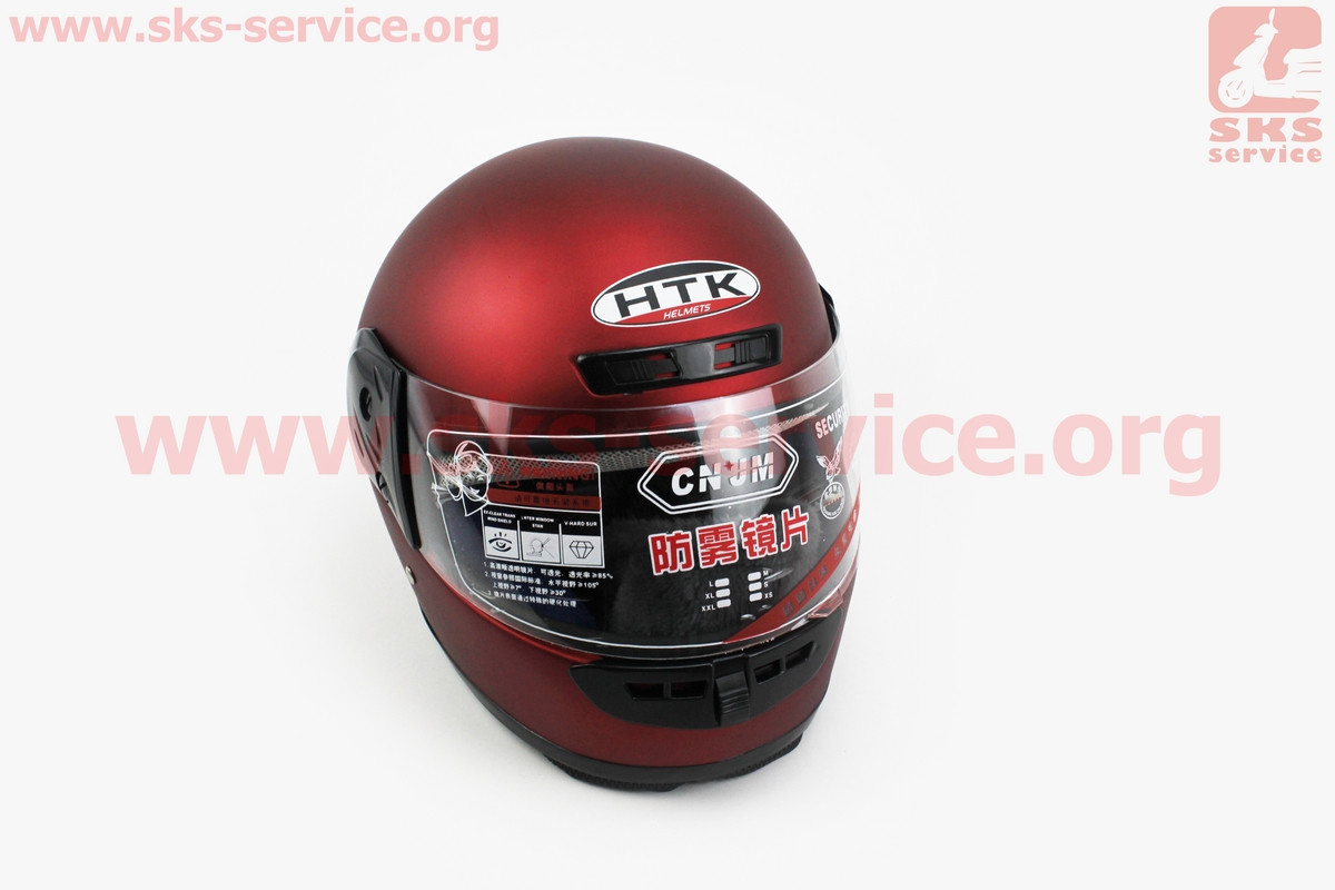Шлем закрытый HK-221 - КРАСНЫЙ матовый + воротник (возможны царапины, дефекты покраски) (330541)