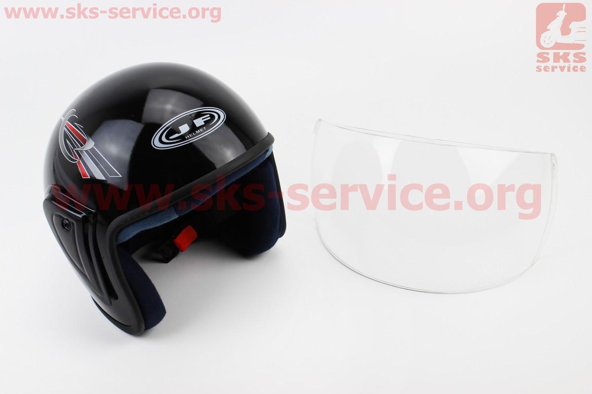 Шлем открытый HK-215 - ЧЕРНЫЙ с рисунком красно-серым (возможны дефекты покраски) (330534)