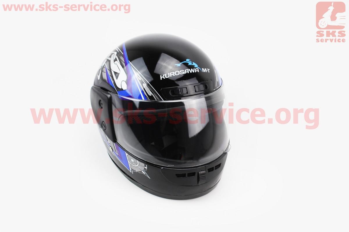 Шлем закрытый HF-101 M- ЧЕРНЫЙ с сине-серым рисунком Q23-BL (330648)