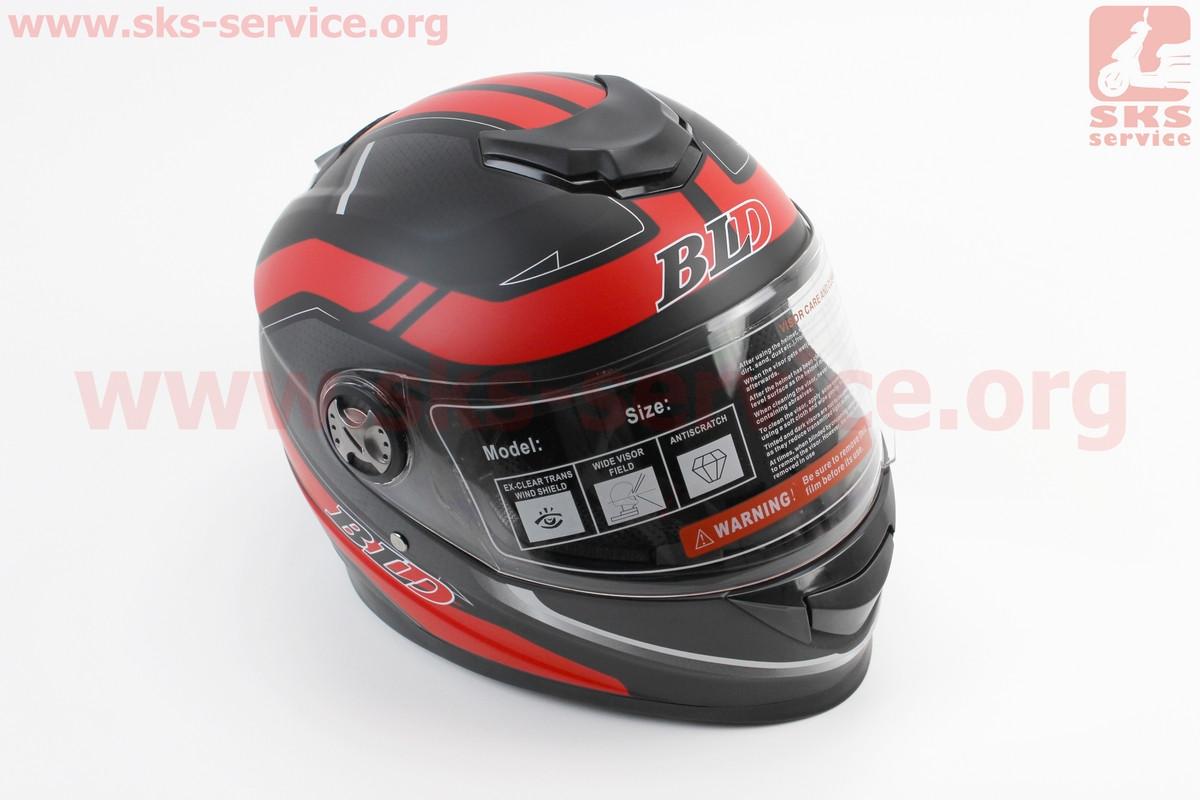 Шлем закрытый BLD-М65 M- ЧЕРНЫЙ матовый с красным рисунком (360049)