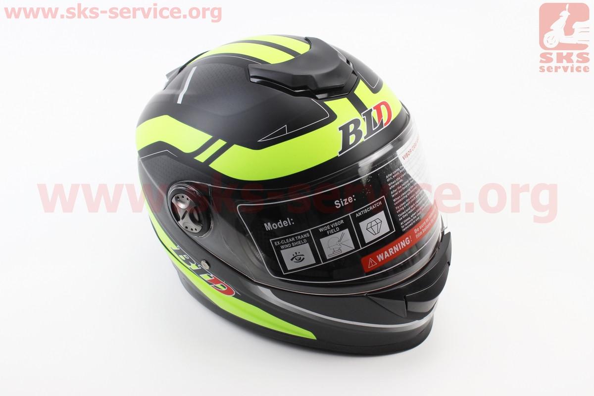 Шлем закрытый BLD-М65 М- ЧЕРНЫЙ матовый с салатовым рисунком (360050)