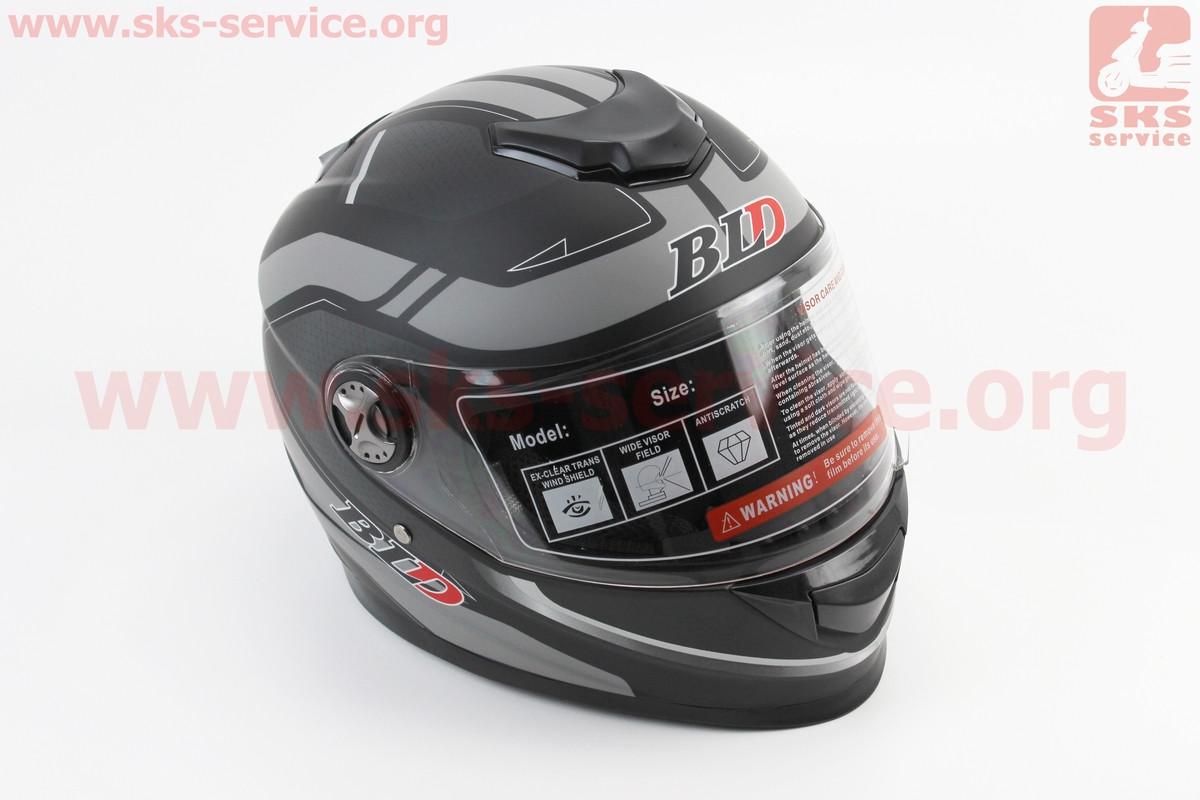 Шлем закрытый BLD-М65 M- ЧЕРНЫЙ матовый с серым рисунком (360051)