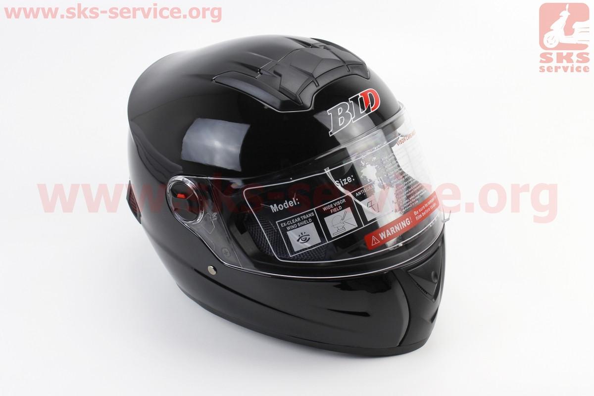 Шлем закрытый +очки BLD-М61 S- ЧЕРНЫЙ глянец (360039)