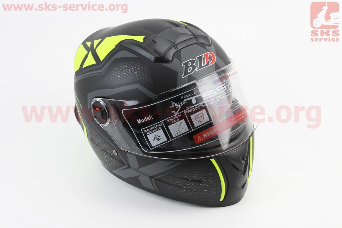 Шлем закрытый +очки BLD-М61 S- ЧЕРНЫЙ матовый с серо-салатовым рисунком (360040)