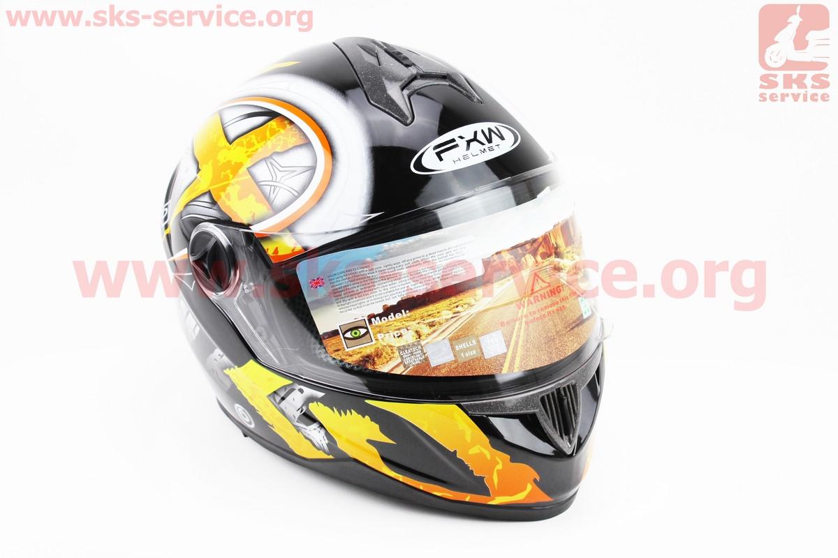 Шлем закрытый HF-122 S- ЧЕРНЫЙ глянец с желто-белым рисунком Q100-Y (330962)