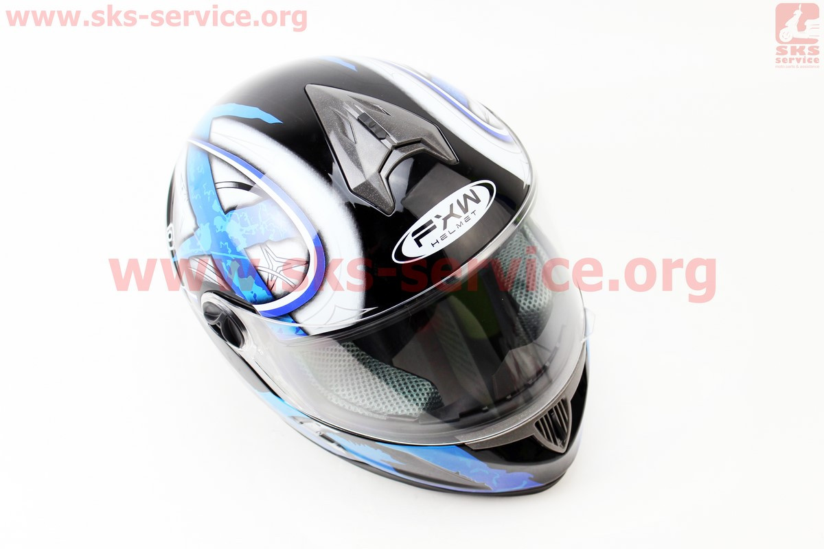 Шлем закрытый HF-122 М- ЧЕРНЫЙ глянец с сине-белым рисунком Q100B (301222)