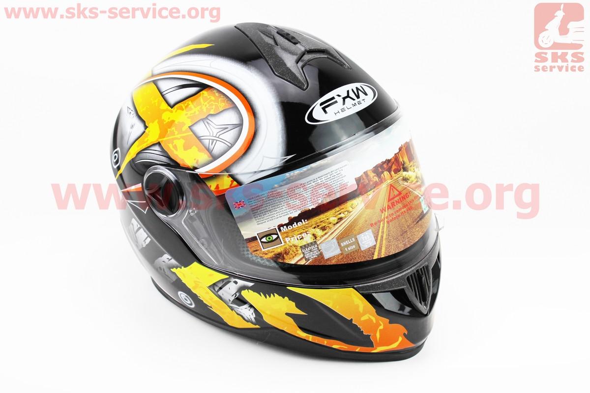 Шлем закрытый HF-122 М- ЧЕРНЫЙ глянец с желто-белым рисунком Q100-Y (330963)