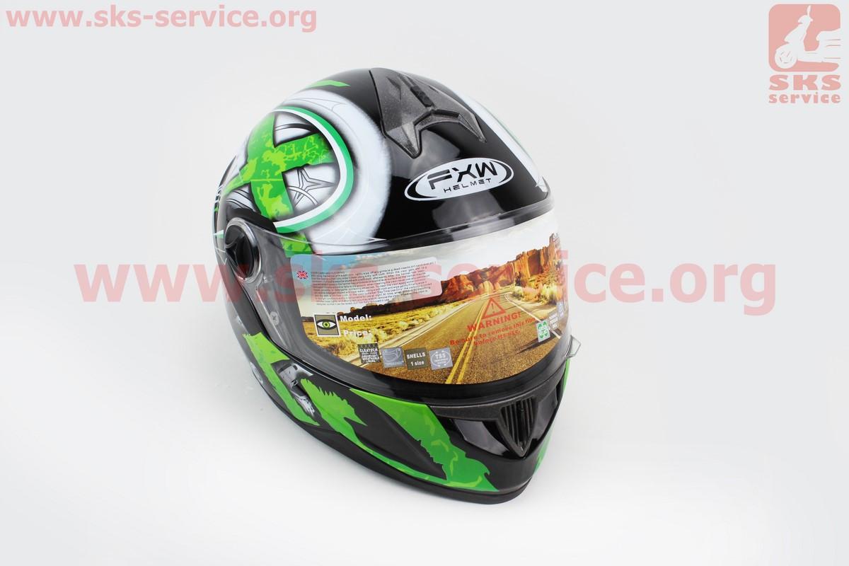 Шлем закрытый HF-122 XL- ЧЕРНЫЙ глянец с бело-зеленым рисунком Q100G (330525)