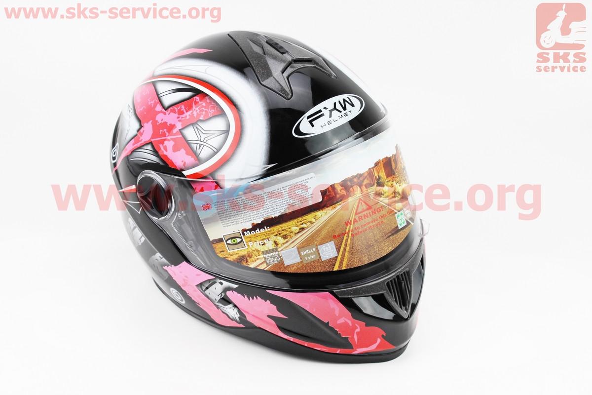 Шлем закрытый HF-122 XL- ЧЕРНЫЙ глянец с красно-белым рисунком Q100-R (330964)