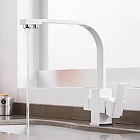 Смеситель для кухни для фильтрованной воды WanFan 2 вида подачи воды двухрычажный Белый