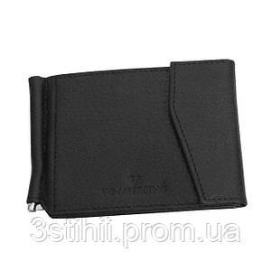Зажим для денег мужской кожаный Vip Collection 003A flat Чёрный