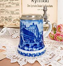 Пивной бокал, немецкая кружка для пива, керамика, оловянная крышка, Германия, 1979 год, Berlin Design, кобальт