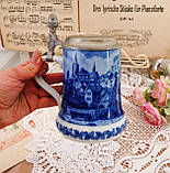 Пивний келих, німецька, кружка для пива, кераміка, олов'яна кришка, Німеччина, 1979 рік, Berlin Design, кобальт, фото 5