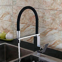 Смеситель на кухню выдвижной слив кран два режима воды вращающийся на 360 градусов WanFan Хромированный
