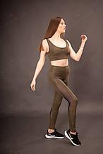 Женский спортивный комплект хаки эластан с принтом камуфляж