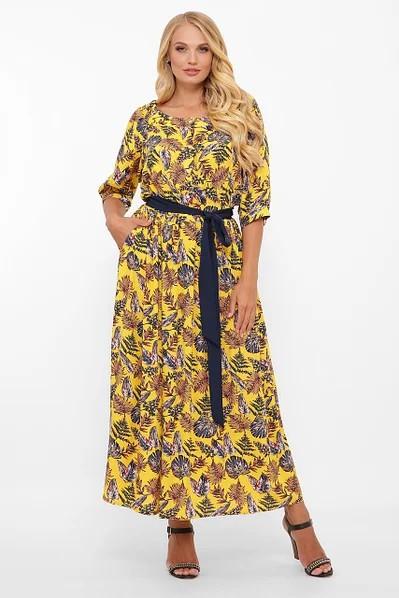 Длинное штапельное платье 52,54,56,58 размер