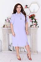 Красивое летнее платье миди прямого кроя Ботал однотонное.Новое поступление весна лето