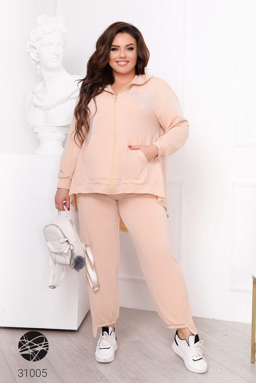 Женский спортивный костюм больших размеров из олимпийки и штанов с 50 по 60 размер