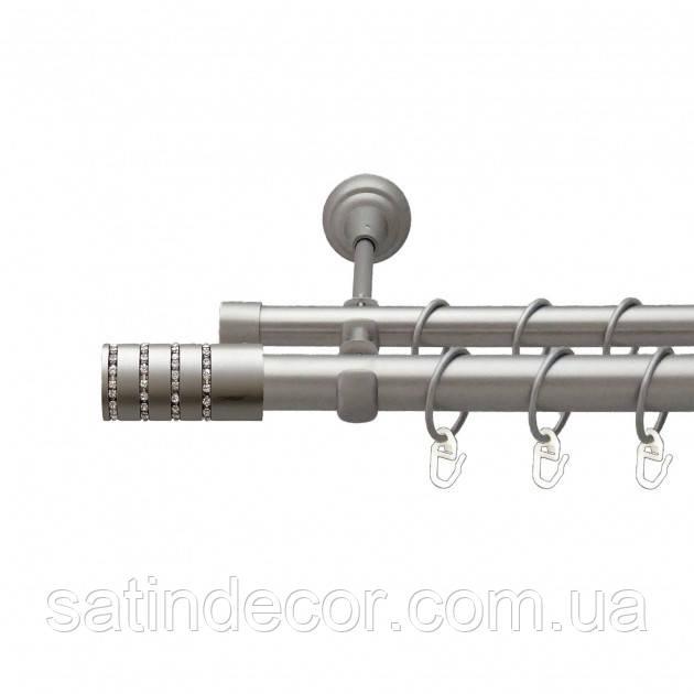 Карниз для штор металевий БАРАМЕЛЛА подвійний 25+19мм 1.6 м Колір Сатин Нікель
