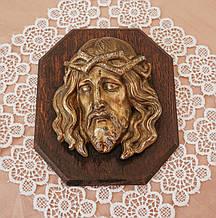 Старый бронзовый барельеф Иисуса Христа, бронза, дерево, Германия