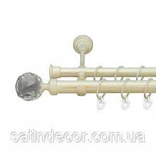 Карниз для штор металевий ЛЮМІЄРА подвійний 25+19мм 2.0 м Біле золото