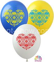 """Воздушные шары """"Сердце Вышиванка"""" 12""""(30 см) пастель В упак: 100шт ТМ Арт «SHOW»"""