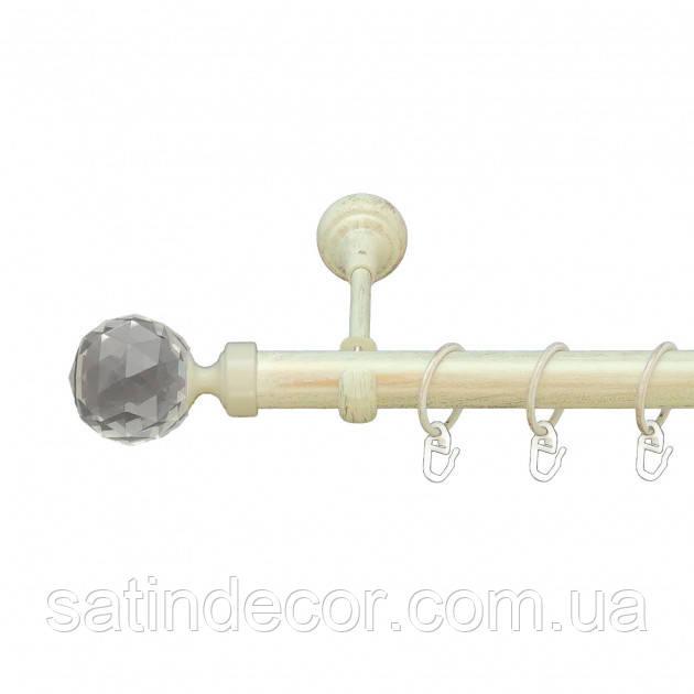 Карниз для штор металевий ЛЮМІЄРА однорядний 25мм 3.0 м Біле золото