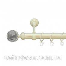 Карниз для штор металлический ЛЮМИЕРА однорядный 25мм 2.0м Белое золото