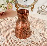 Старая медная ваза, вазочка ручной работы, ваза из меди, Германия, 12 см, фото 2
