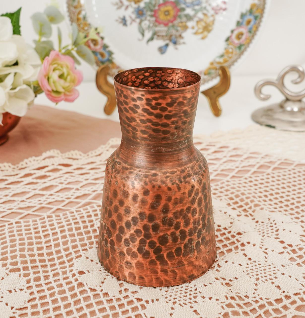 Старая медная ваза, вазочка ручной работы, ваза из меди, Германия, 12 см