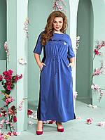 Летнее женское длинное платье из льна батал с 52 по 66 размер