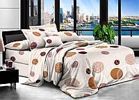 Полуторный комплект постельного белья Круги молочные 145х215 см из полиэстера