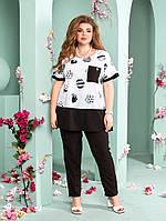 Женский летний костюм- блуза и брюки батал с 52 по 66 размер
