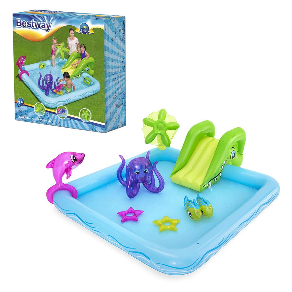 Игровой центр Bestway 53052 Аквариум 239 х 206 х 86 см, надувной бассейн с горкой и игрушками