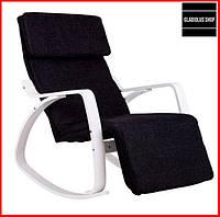 Кресло качалка GoodHome 03 (коричневый, белый) Комфортное Расслабляющее Кресло для дома и квартиры