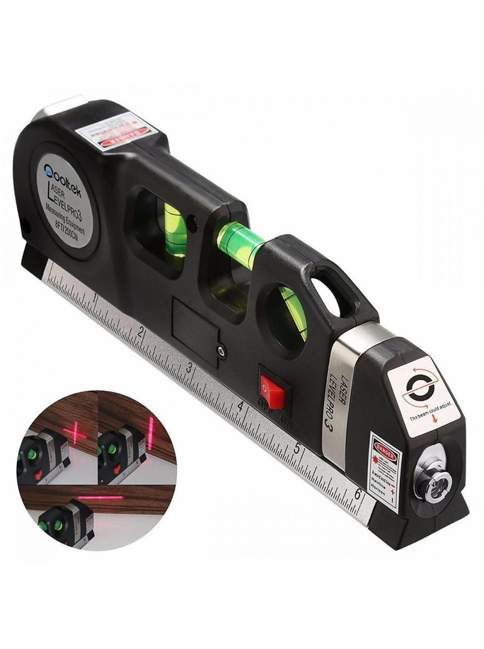 Лазерный уровень с рулеткой и линейкой /вертикаль/горизонт/крест FIXIT LASER PRO 3
