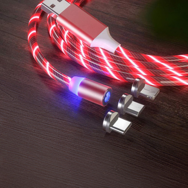 Магнітний світиться кабель для IOS, Android Type-C 1 3 в 1 Червоний