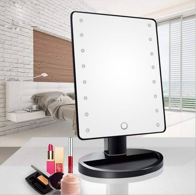 Дзеркало для макіяжу з LED підсвічуванням Large Led Mirror 16 LED (5308) Чорне