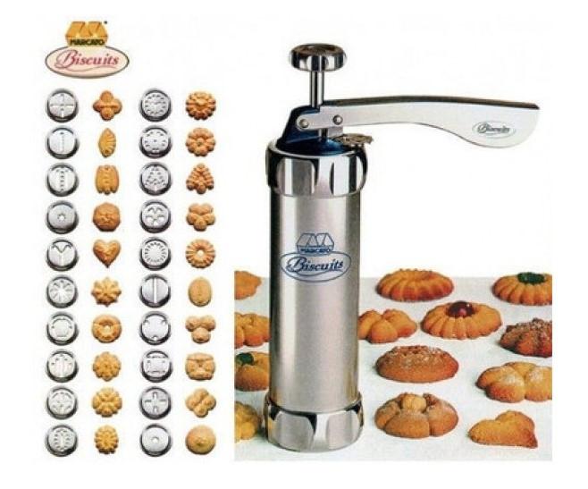 Кондитерский шприц-пресс с 24 насадками для изготовления печенья