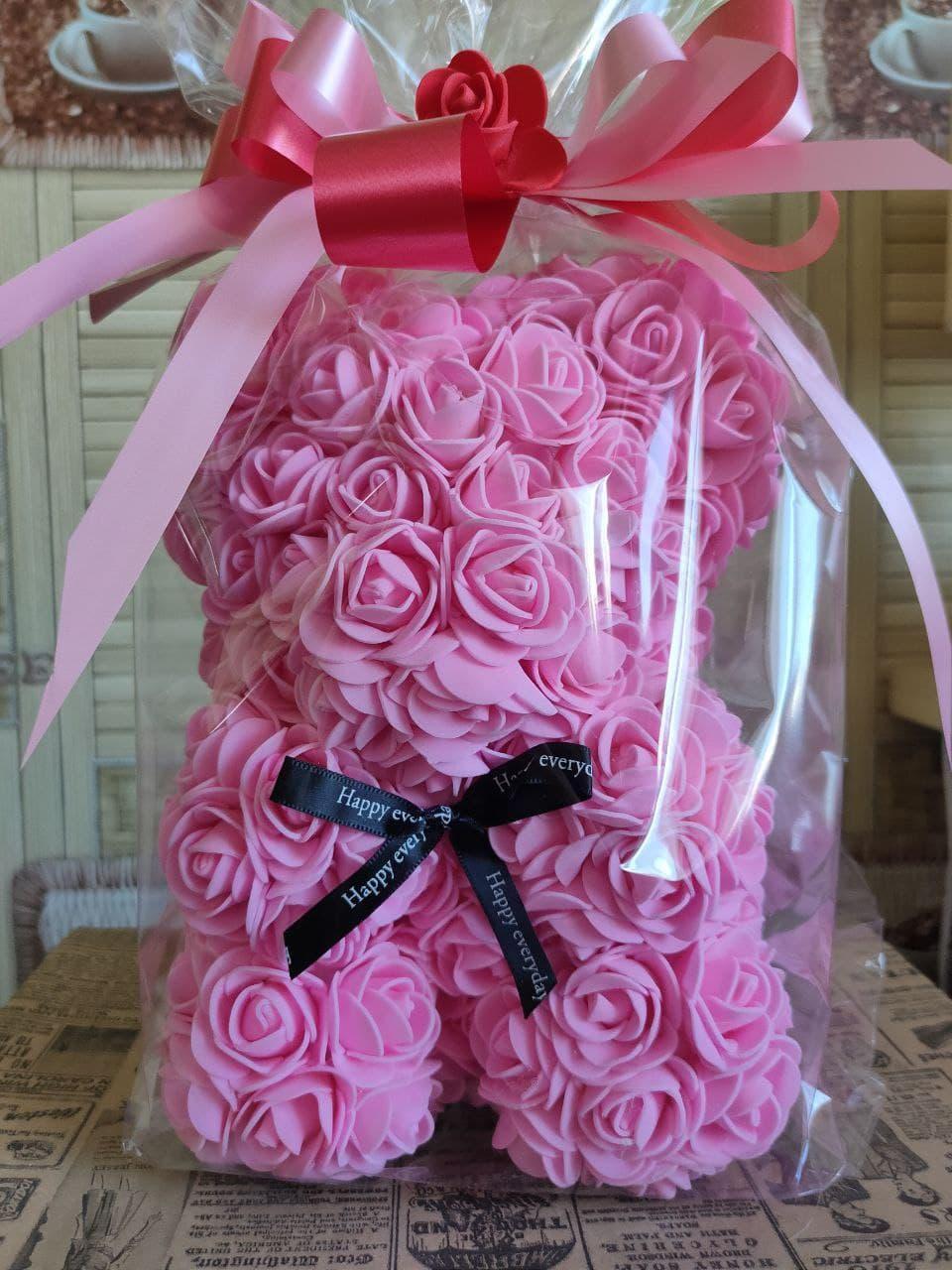 Мишко з 3D троянд 25см в подарункової упаковки ведмедик з троянд оригінальний подарунок на 8 березня дівчині