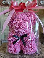 Мишка из 3D роз 25см в подарочной упаковке мишка из роз оригинальный подарок на 8 марта девушке